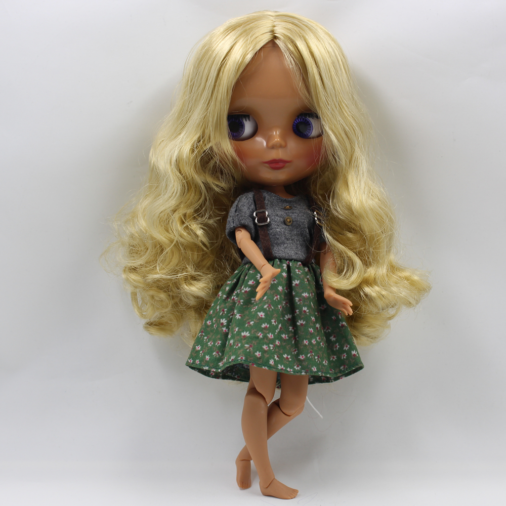 Blyth Doll Long Wavy Blonde Hair Chocolate Skin with Joint Body 4 Colors Big Eyes Nude Bjd 1/6 Doll blyth toys for girls blyth nude doll joint body with long wavy white hair 4 colors big eyes 1 6 bjd blyth dolls suitable diy makeup toys