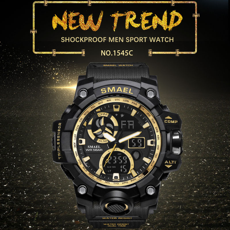 SMAEL Sport Watches for Men Waterproof LED Digital Watch Men 39 s Wristwatch Clock Man 1545C Big Mens Watches Military montre homme in Sports Watches from Watches