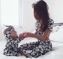 Семейные комплекты для мамы, дочки и сына; комплект одежды; Пижама с пандой; одежда для сна; Милая Пижама для сна