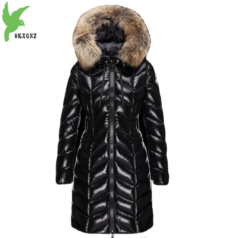Winter Parkas Women   Down   Jacket 2018 High quality Raccoon fur collar Hoodies Tops Thicken Female Slim Warm   Down     Coat   Parkas 2152