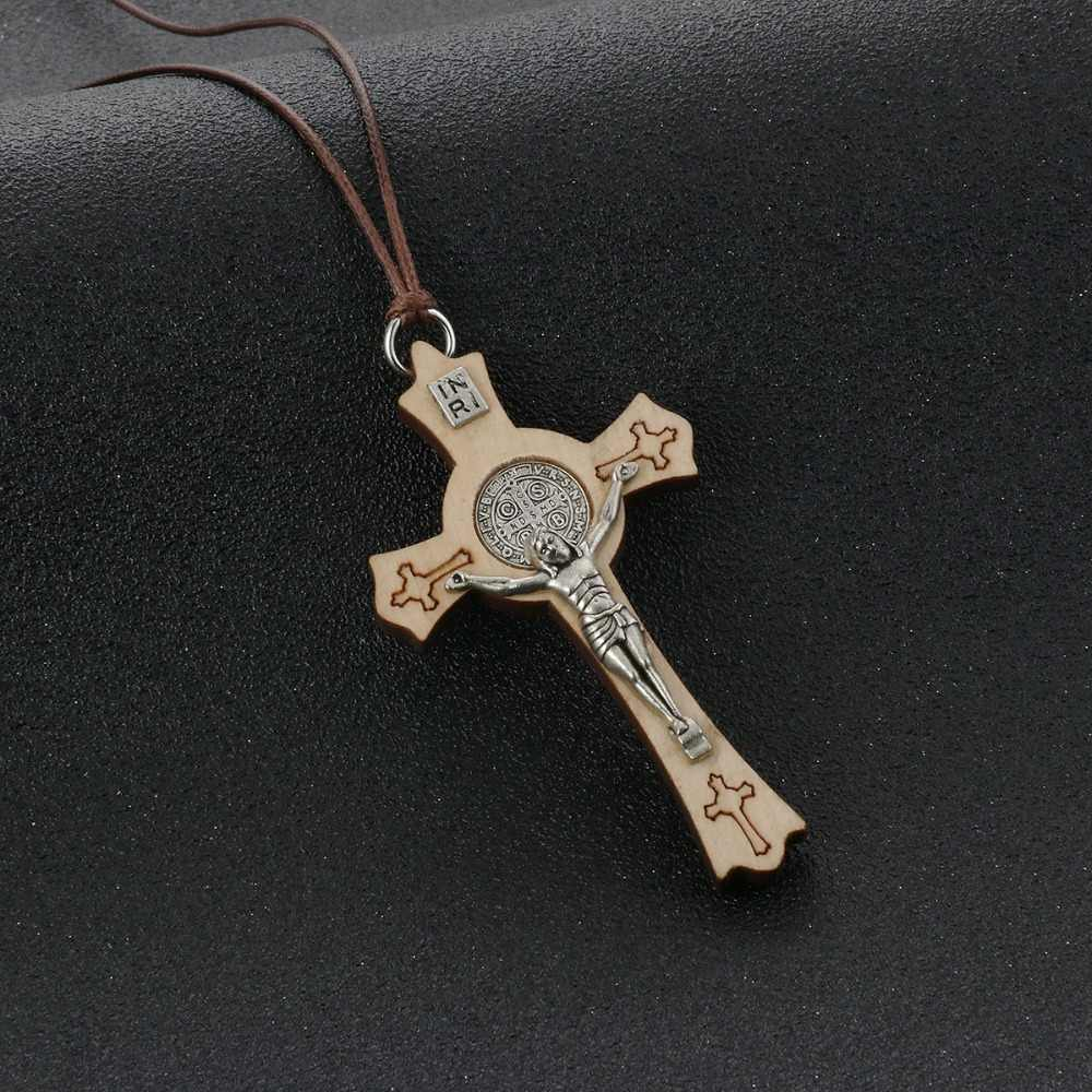 Religious Jesus CSPB Jewelry Rope Chains Olive Wood Saint Benedict Medal Cross Pendant Necklace for Women INRI colar Gifts MN235
