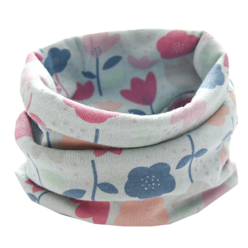 Осенне-зимний детский хлопковый плюшевый шарф, детский шарф для девочек, шарфы для мальчиков и девочек, детский воротник, детский волшебный шейный платок с круглым вырезом - Цвет: new blue flower