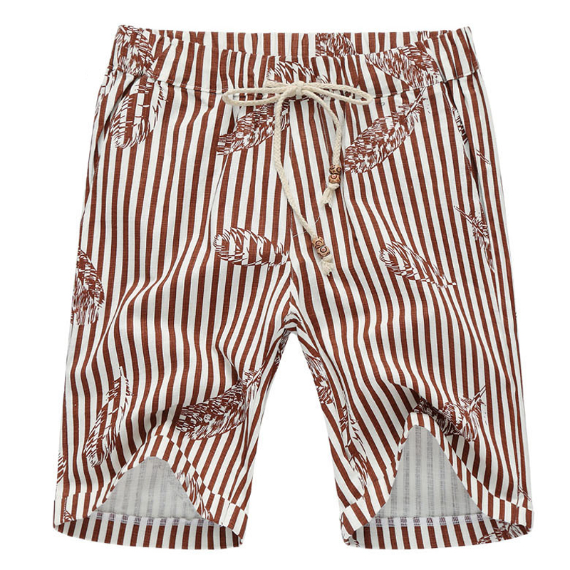 2016 Men Striped Shorts Men s Casual Fashion Slim Fit Large Size Summer Knee Length Beach