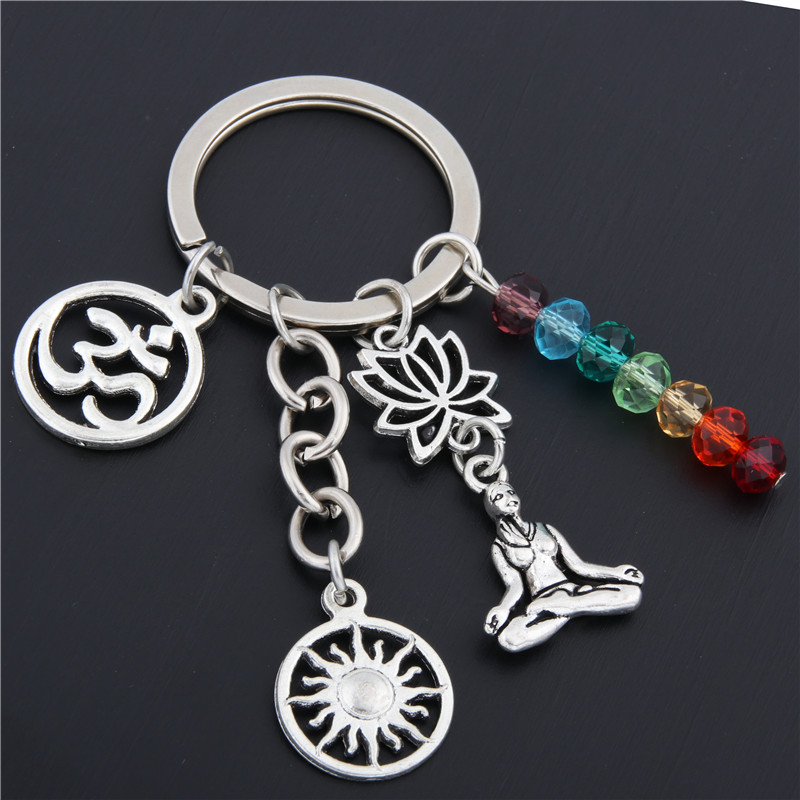 1pc Rainbow Symbol Keyring Silver Keychain Yoga Chakra Key Chains Sun Charms Lotus Ohm Jewelry E1652