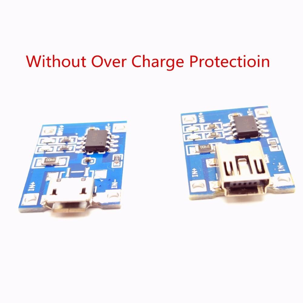 Módulo de carga de batería de litio con o sin funciones de protección, microusb, 5V, 1A, 18650, TP4056, 1-10 Uds.