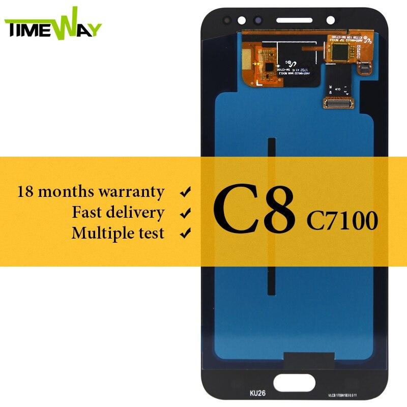 Pour Samsung C8 C7100 LCD affichage AMOLED avec écran tactile numériseur assemblée pour Samsung C8 C7100 LCD remplacement