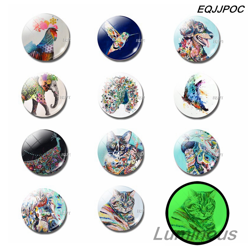 Luminous Animals Fridge Magnet Set 25 MM Glass Magnetic Refrigerator Magnets Home Decor Dog Chicken Horse Butterfly Peacock Cat in Fridge Magnets from Home Garden