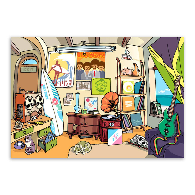 Hippie Surf Beach Modern Cartoon A3 Poster Prints Pop Hipster Music Drawing Big Colorful Canvas Paintings