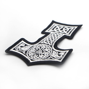 Image 3 - D0006 Patchfan 20pcs/lot Mjolnir North Viking Thor Hammer Loki Odin Skins Embroidered Iron on Patches for Clothing DIY Appliques