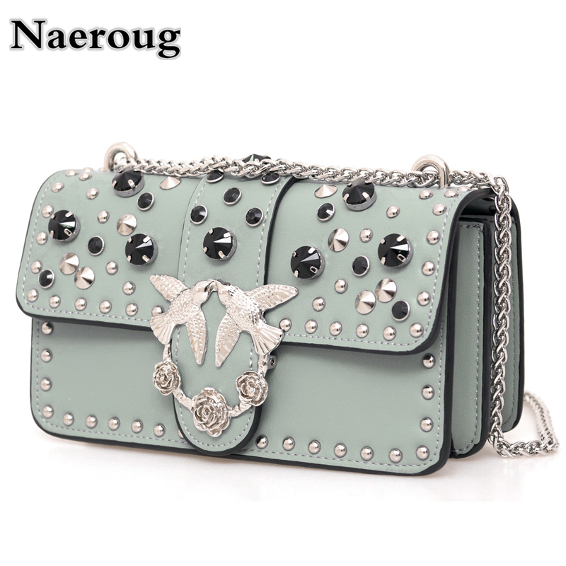 Fashion Women Chain Rivet Diamond Shoulder Bag Messenger Bag Elegant Female Bag/Handbag Classic Designer Lady Flap Clutch Purses