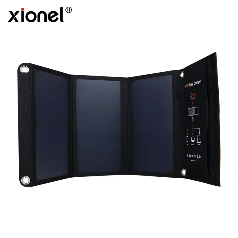 Xionel 21W Foldable Solar Cells Charger Backpack Sunpower Solar Panel Charger with Dual USB Port for Mobile Phone Solar Battery цена