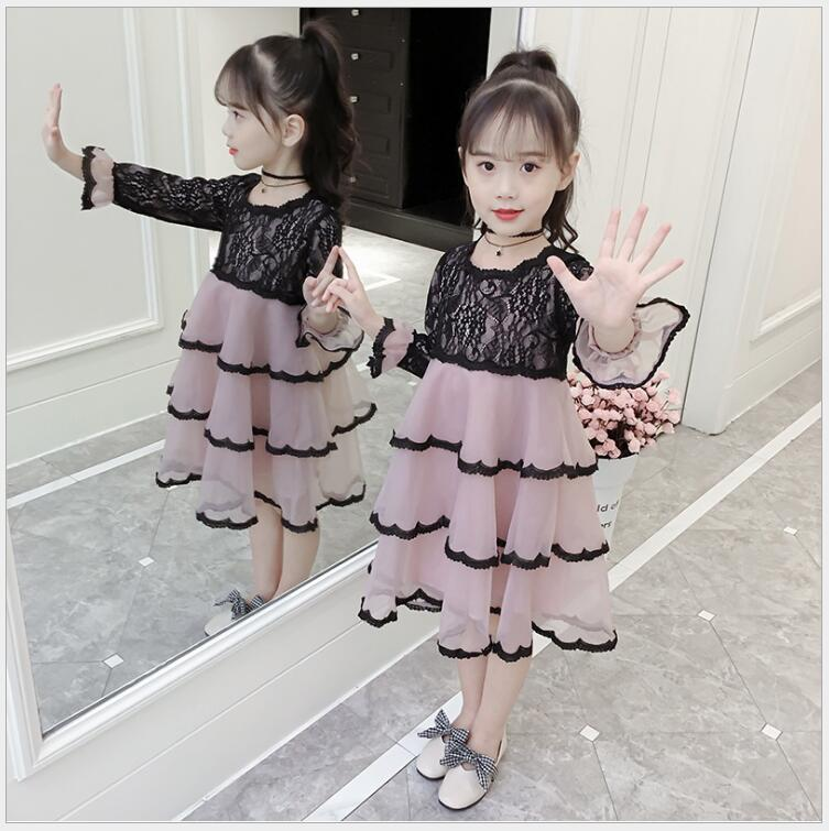 2018 autumn girls long sleeve lace layered dress for birthday party elegant teens girl school dress flare sleeve tulle clothing lucky lace up long sleeve layered women s wine red romper