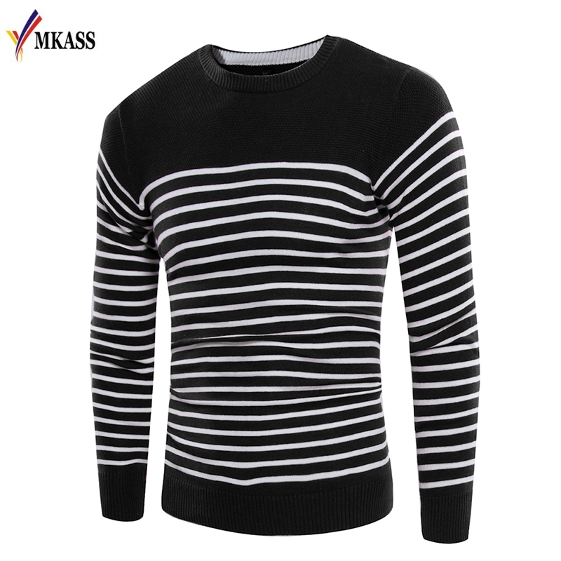 Hot Sale 2018 New Spring Autumn Long Sleeve Striped Men Pullover Sweater Masculino Male Casual Sweater Knitwear M-3XL