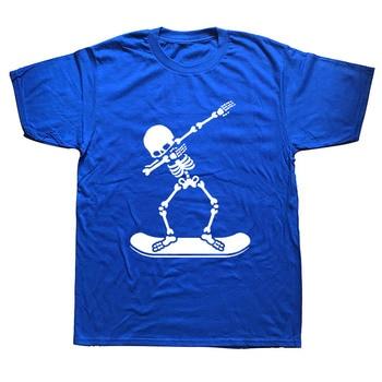 Dabbing Skeleton Snowboardings Dab Funny T Shirts Men Summer Cotton Harajuku Short Sleeve O Neck Streetwear Black T-shirt 1