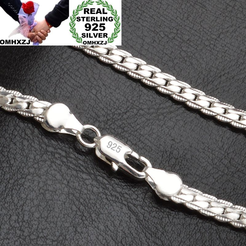 Omhxzj personalidade por atacado moda ol mulher menina presente prata 5mm completa corrente lateral 925 prata esterlina corrente colar nc187
