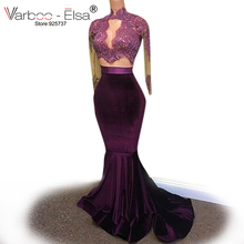 Sexy 2 piece Long Prom Dresses 2017 Mermaid high Neck Long Sleeve party dress Purple African Velvet Prom Dress for black girls