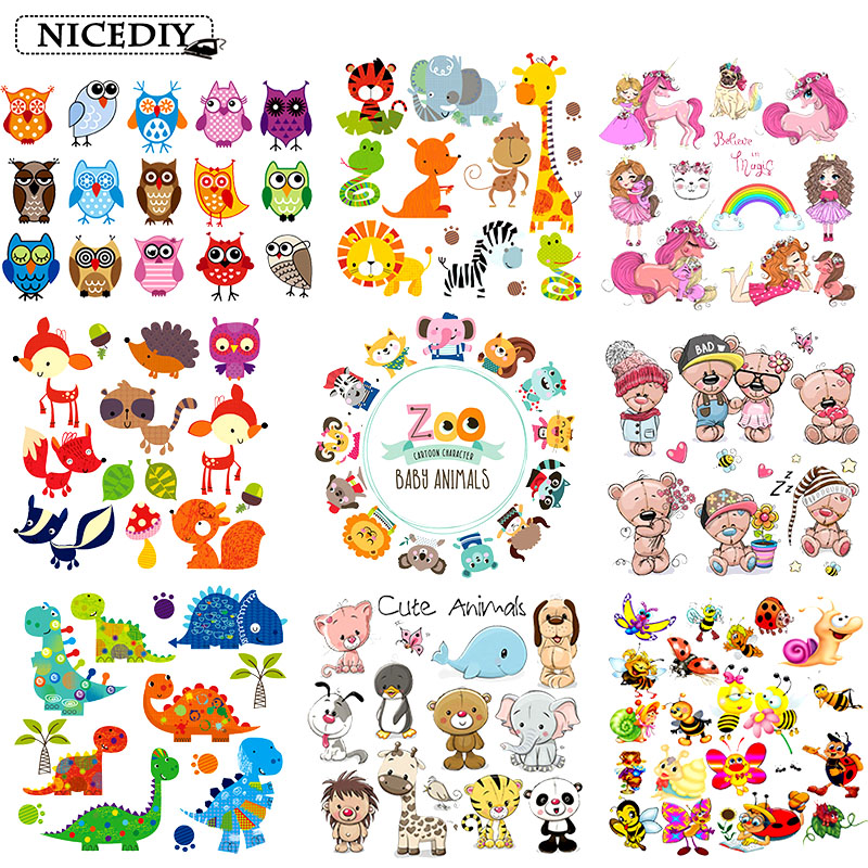 Nicediy Cartoon Animal Patch Iron On Patches For Clothing Heat Transfer Vinyl Sticker Iron On Transfers For Baby Applique Badge in Patches from Home Garden