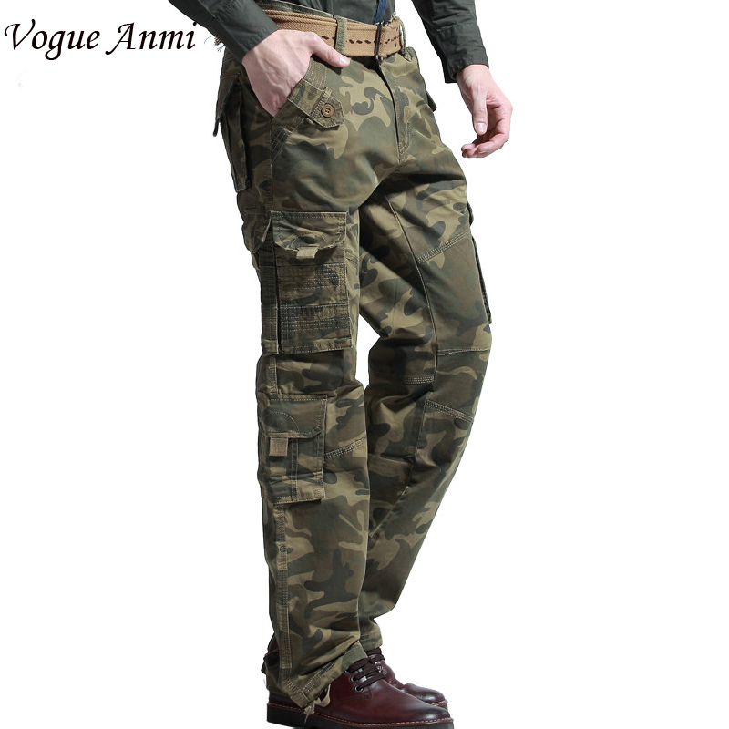 New Mens Joggers Army Combat Cargo Pants Trousers Men Loose Camo