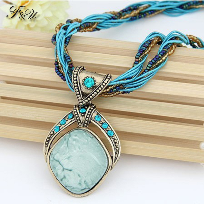 Crystal Pendant Multilayer-Chain Retro Necklace Rhombus Handmade Bohemia-Style N002 F--U