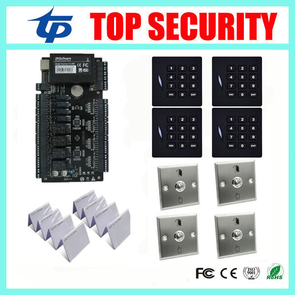 4 doors access control system access control panel with 4pcs KR102E RFID card reader, 4pcs Stainless steel exit button ZK C3-400