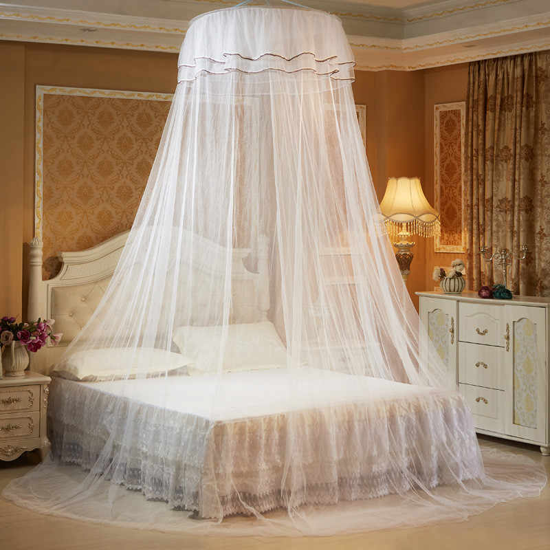 Romantic Hung Dome Mosquito Nets For Summer, Home Textile Bedding Polyester Mesh, Round Lace Insect Bed Canopy Netting Curtain