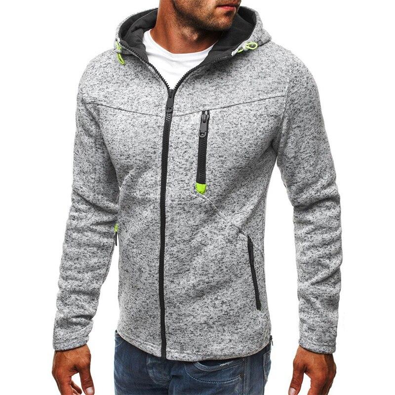 Men Sports Casual Wear Zipper Fashion Tide Jacquard Hoodies Fleece Jacket Fall Sweatshirts Autumn Winter Coat 3