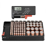 Quality Battery Storage Organizer Case Holder With Removable Tester for AAA AA C D 1.5V 9V Button Cell Batteries Accessories