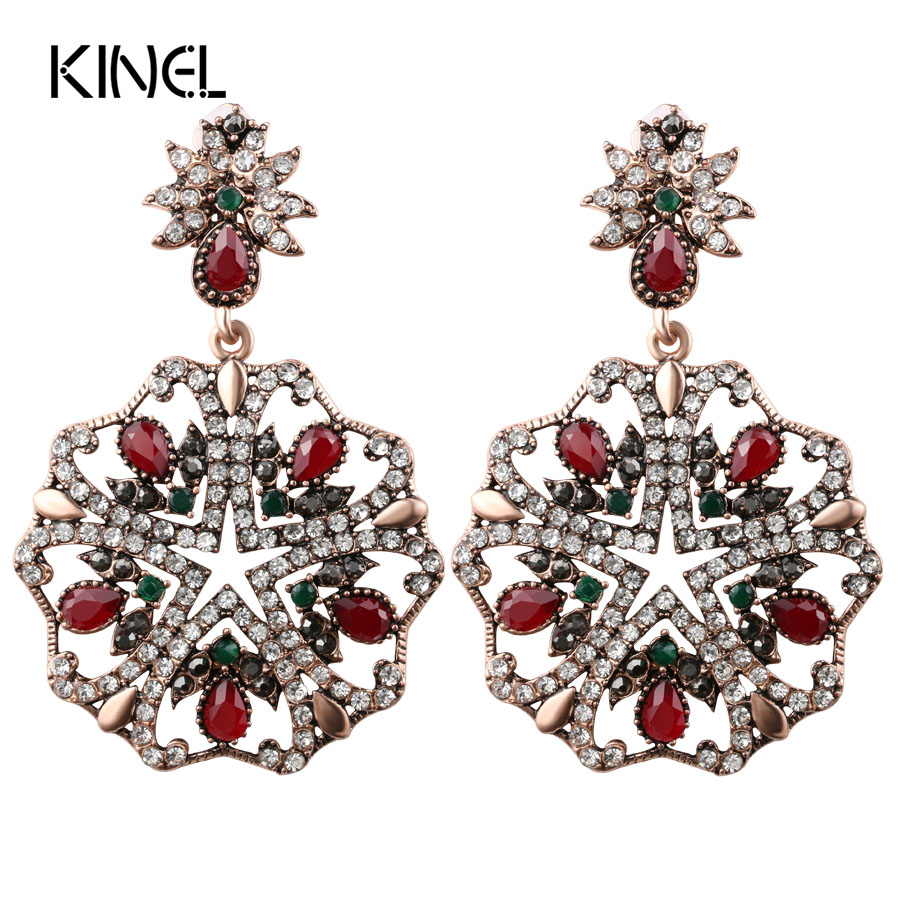 Luxury Big Earrings For Women Turkish Jewelry Ancient Gold Color Unique Crystal Party Long Earrings Gift Accessories