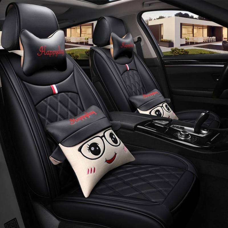 Housses de siège de voiture en cuir protecteur auto coussin bande dessinée lombaire pour buick excelle xt lacrosse regal encore byd f3 g3 g6 l3 s6 f6