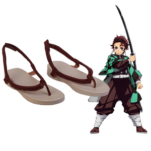 Image 1 - Cosroad Kamado Tanjirou Shoes Demon Slayer Kimetsu no Yaiba Cosplay Shoes Halloween Tanjirou Kamado Boots Cosplay Costume