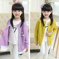 Girls Wear Cardigan Sweater New Autumn Knitting Coat Kids Jacket Clothing Yellow Purple Lace