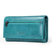 Купить с кэшбэком KVKY Brand Design Coin Purse Genuine Leather Women Wallets Female Card Holder Long Lady Clutch Wallet With Phone Pockets