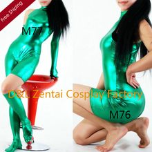 Free Shipping DHL Sexy Fancy Dress Women Unitard Green Shiny Metallic Spandex Catsuits for Woman with Gloves and Socks