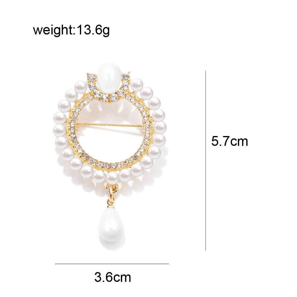 CINDY XIANG 2 Colori Scelgono di Perle e di Strass Cerchio Del Fiore Spille per Le Donne di Stile Barocco Elegante Spilla Spille Regalo di Inverno