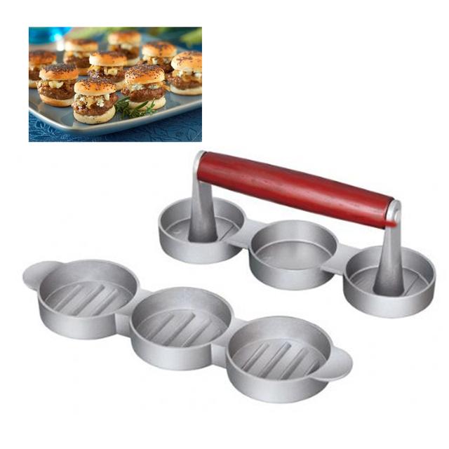 3 slot mini burger press triple aluminum round and nonstick