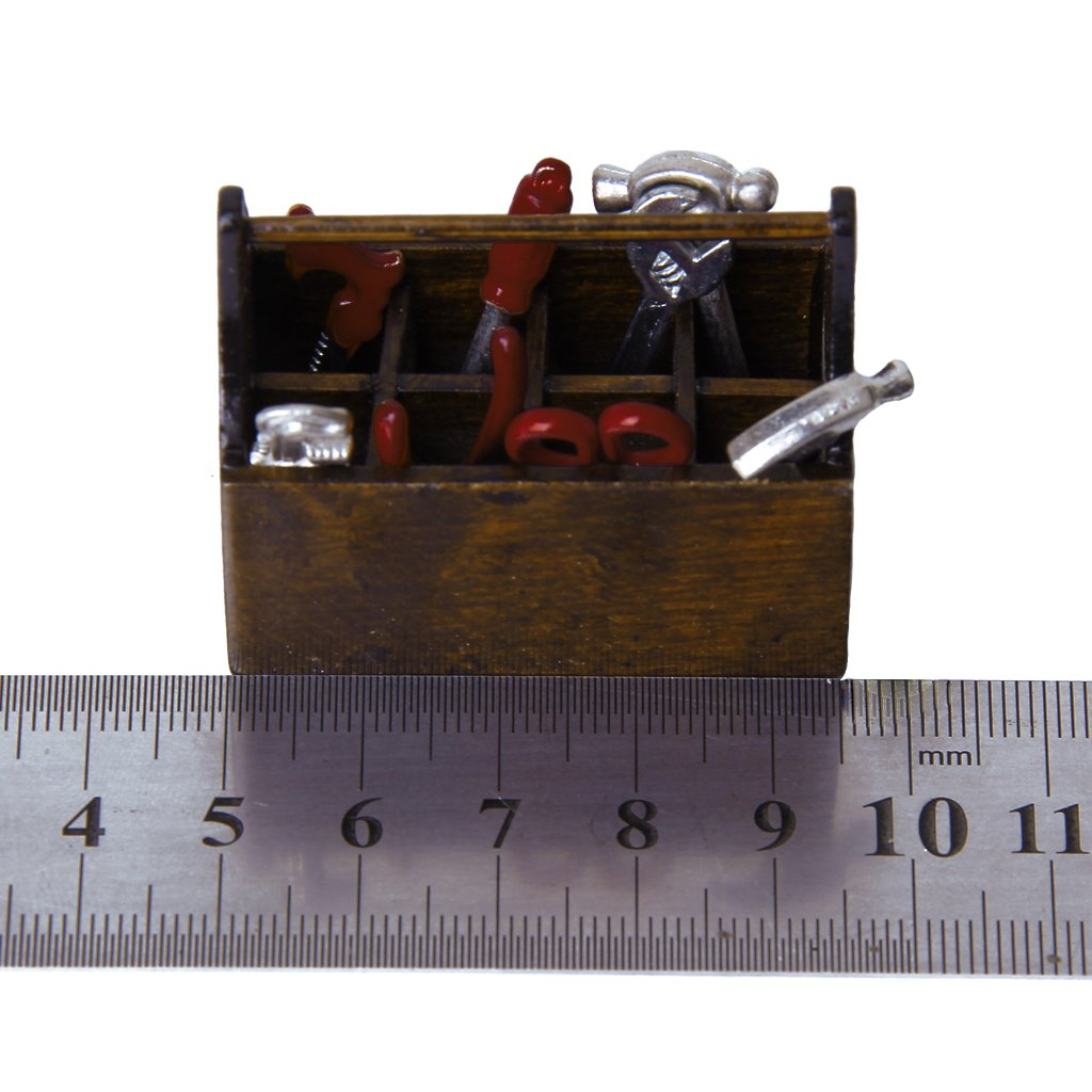 1/12 Dollhouse Miniature Wooden Box With Metal Tool Set