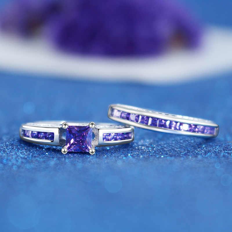 ขายร้อน 2 ชิ้น/เซ็ตธรรมชาติสีม่วง Rhinestone แหวนเครื่องประดับสำหรับสตรี Rhinestone สี zircon แหวนเงิน 925 หยก