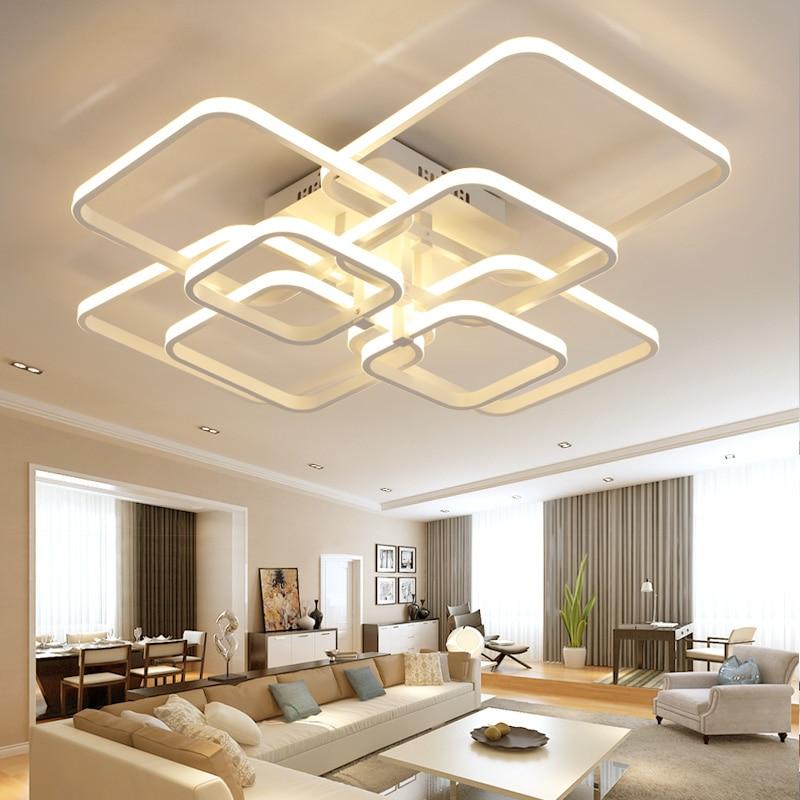 New acrylic modern led chandelier lights for living room bedroom square Indoor White avize ChandeliersLamp Fixtures