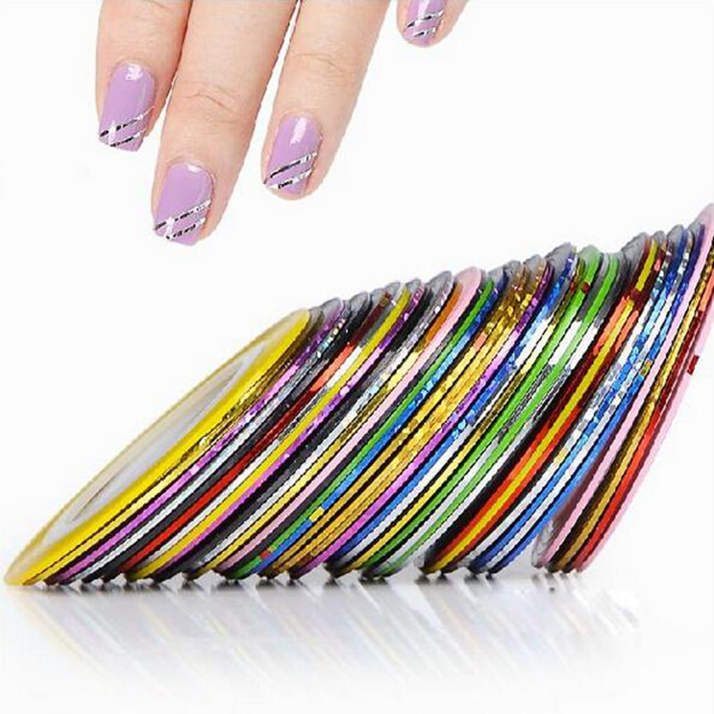31Pcs Mixed Colorful Beauty Rolls Striping Decals Foil Tips Tape Line DIY Design Nail Art Stickers Tools Decorations #8802
