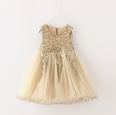 Elegant Champagne Gold Sequined Dress Kids Girl Evening