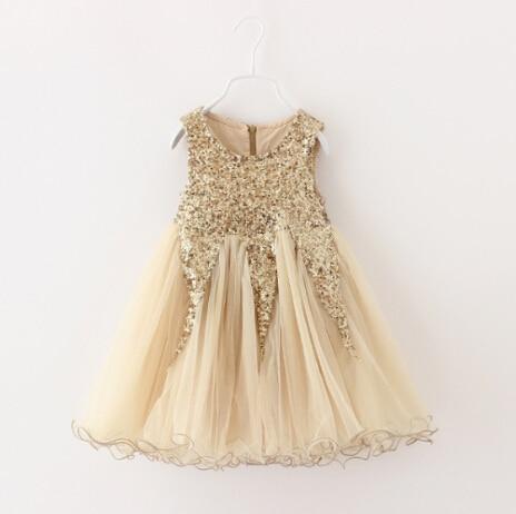 Elegant Champagne gold Sequined Dress Kids Girl Evening ...