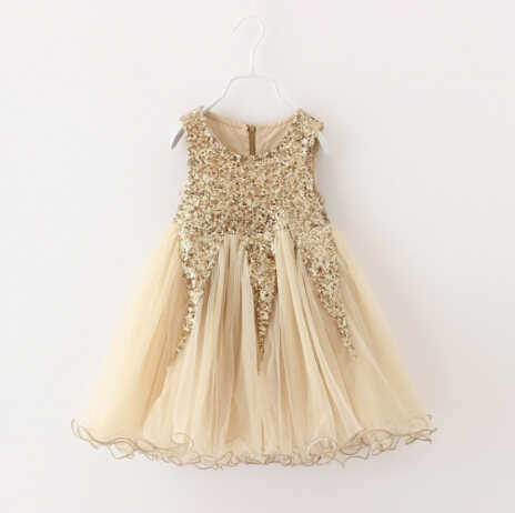 8aeac38daf Elegant Champagne gold Sequined Dress Kids Girl Evening Dresses Vintage  Toddler Dress Girl Boutique Clothing Wholesale