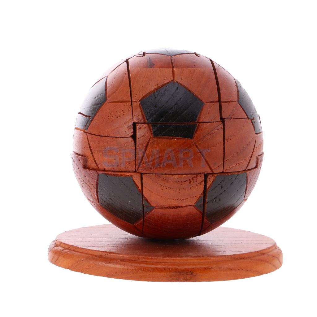 2 Set Kids Wooden 3D Rugby/ Football Puzzle Home Office Desk Decoration Educational Toy Crafts Gift