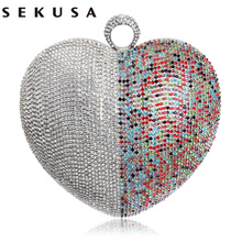 SEKUSA Herz Eine Seite Strass Frauen Abendtaschen Ringe Bunte Silber Gold Schwarz Mischfarbe Für Hochzeit Handtasche