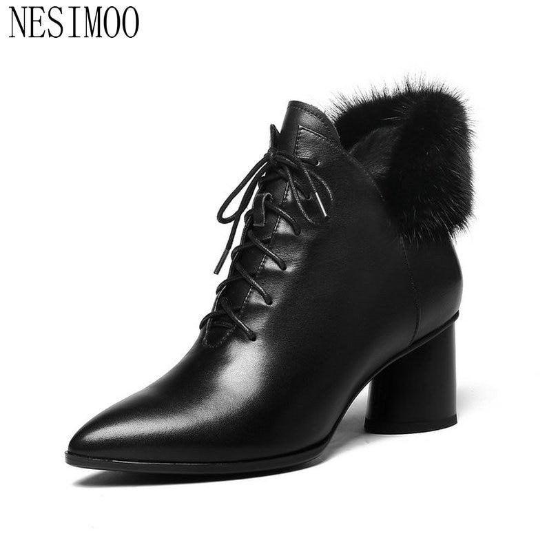 a46c5647a Vaca Moda Mujer Negro Tobillo 34 42 Botas De Zapatos 2019 Pu Mujeres Moto  Nesimoo Plataforma Invierno Tamaño FqvwafSn