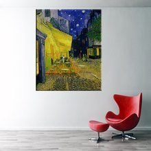 Cafe Terrace At Night by Vincent Van Gogh Canvas Painting Prints Oil Reproductions Street Scenes Landscape Wall Picture