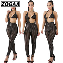 2019 Party popular sexy women jumpsuit Sexy wrapped chest mesh sequined Pole Dance Costume For Clubwear ZOGAA