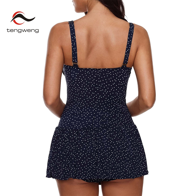 dc457a47b8082 2019 Polka dots Tankini Plus size Swimwear Ruched Push up two piece  Swimsuit women Tummy Control Monokini female beach wear-in Body Suits from  Sports ...