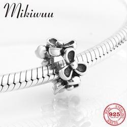 Новый Ретро мода 925 пробы серебро Цветочная распорка для бисера Ювелирных изделий Fit оригинальный Пандора Для женщин браслет