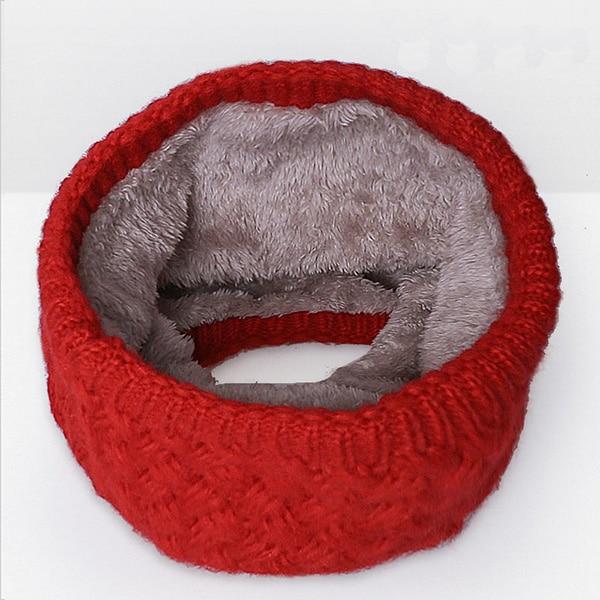 Зимний теплый шарф вельветовый хлопковый шарф на шею для мальчиков и девочек удобный для мужчин и женщин - Цвет: Red B